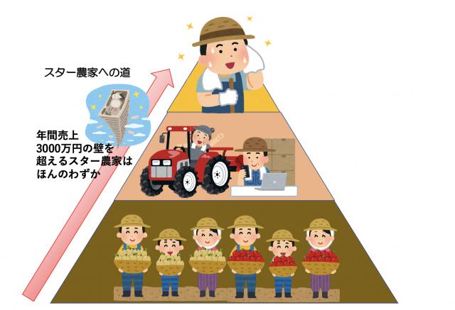 日本に年間売上3,000万円を超えるスター農家はほんの一握りしかいない